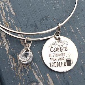 Jewelry - Coffee bracelet, Mom bracelet, bangle, charm